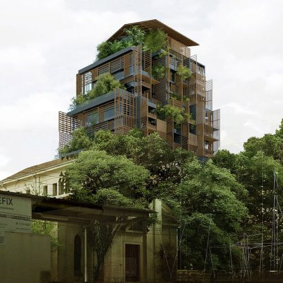 Jean nouvel designs plant covered hotel for historic for Architecture hotel