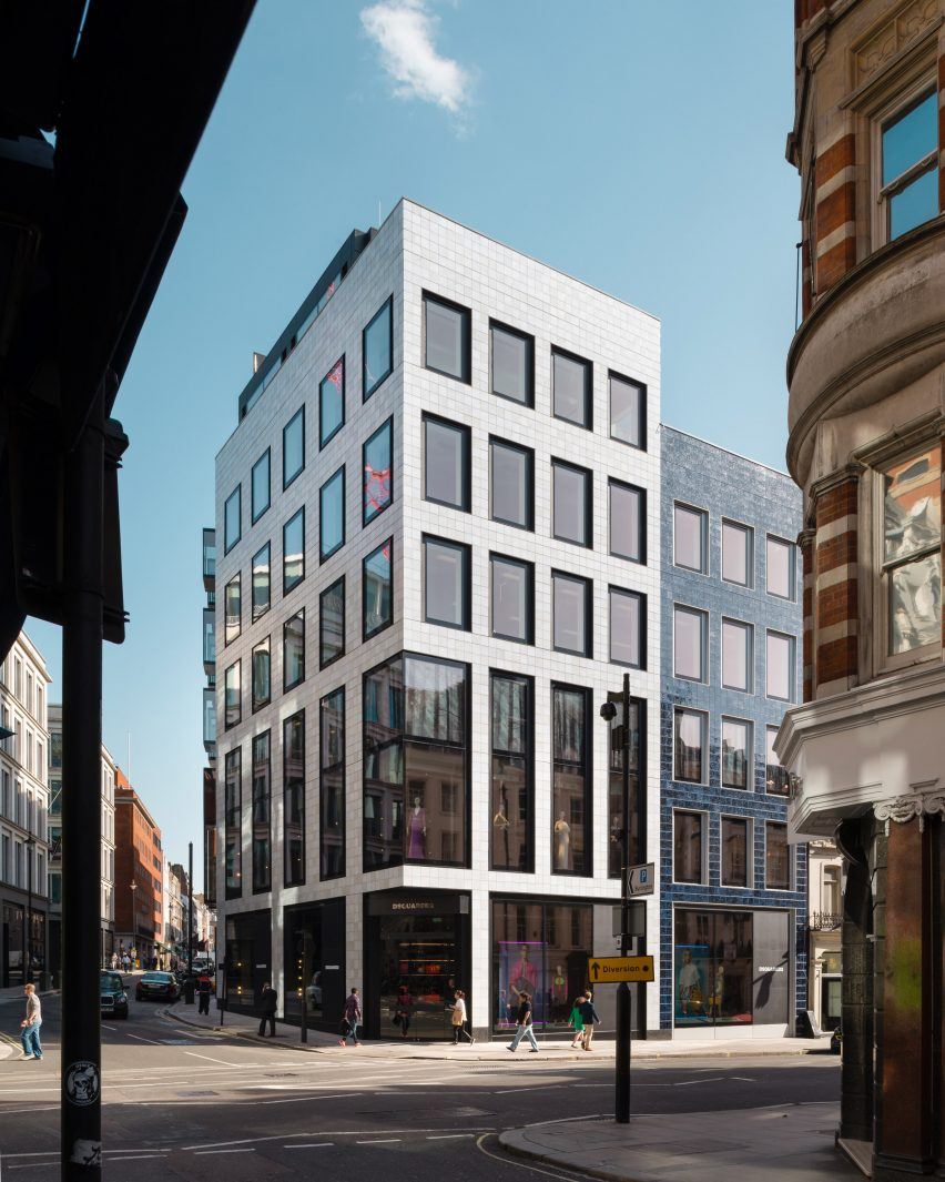 Hand glazed tiles cover savile row office building by epr architects dailygadgetfo Choice Image