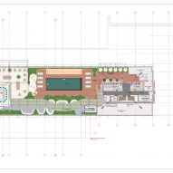 Roof deck floor plan of the Williamsburg Hotel by Michaelis Boyd Associates