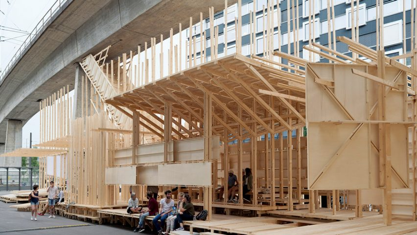 Swiss architecture students design and build wooden events pavilion