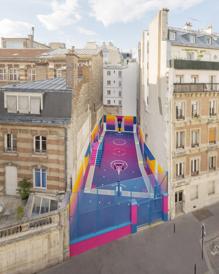 Colourful Paris basketball court, Paris, by Pigalle Duperré