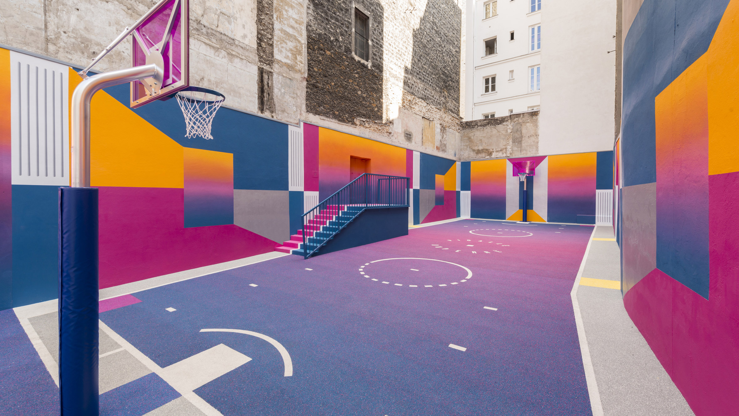 colourful paris basketball court updated with new hues