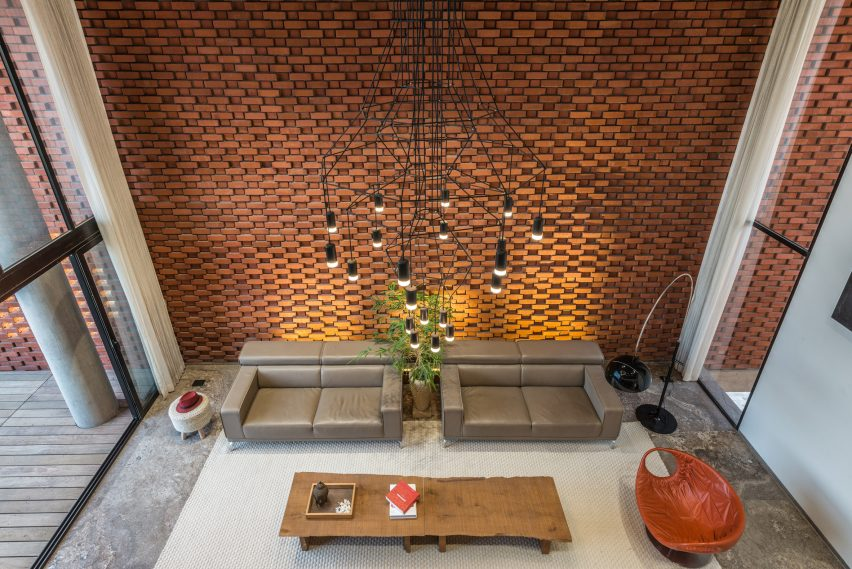 Gentil Brick Curtain House By Design Work Group