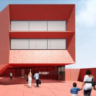 Construction starts on David Adjaye's crimson concrete art museum in Texas