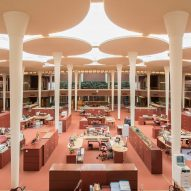 Frank Lloyd Wright designed the Johnson Wax offices as a forest open to the sky