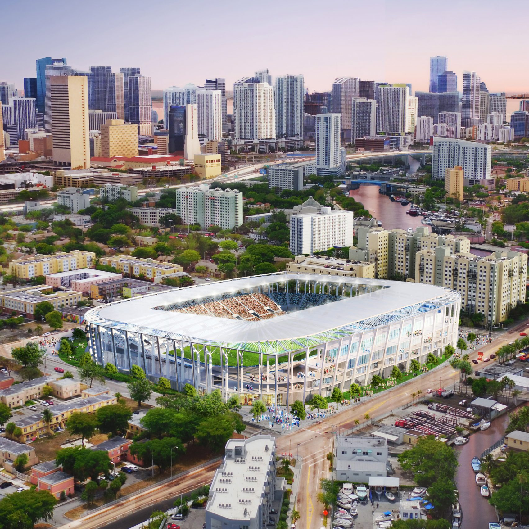 Populous stadium design for David Beckham's proposed soccer team for Miami