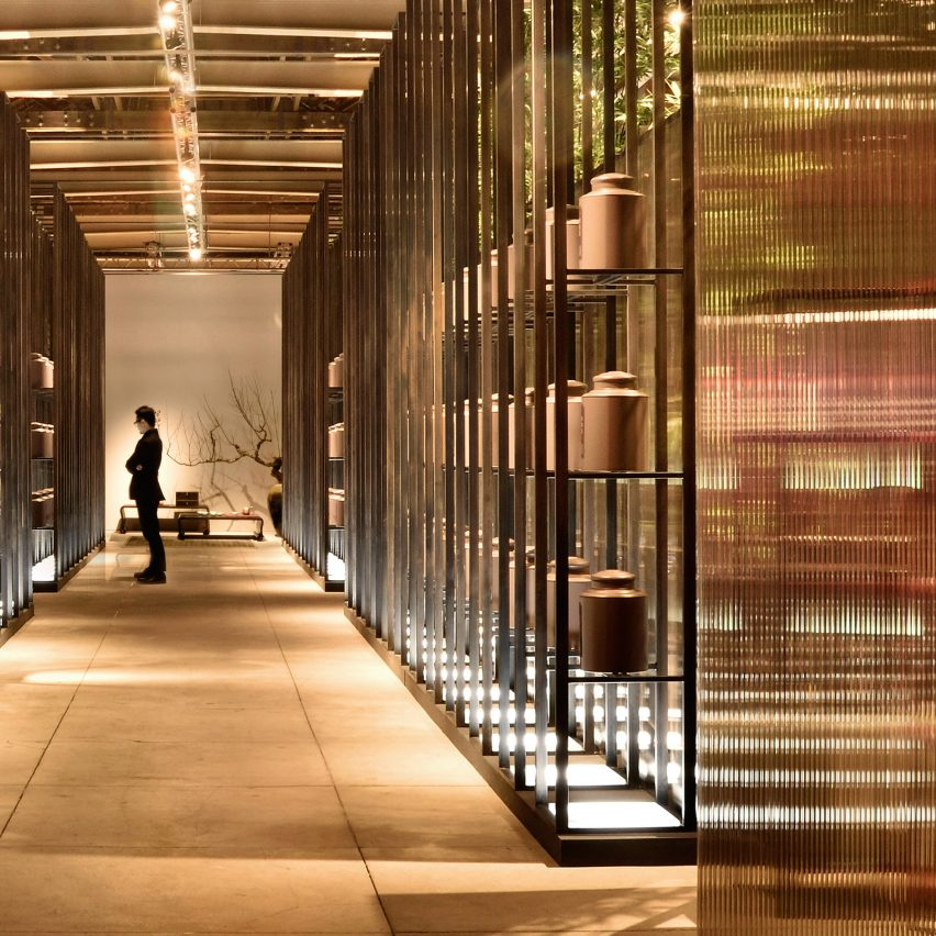 Misty Bamboo Exhibition Space by Kydo. Golden A' Design Award Winner for Interior Space and Exhibition Design Category