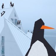 """The Iceberg"" housing in Aarhus becomes a playground for penguins in new animation"