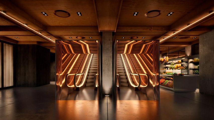 PUBLIC Hotel's Donald Judd-inspired escalators (Source: Dezeen)