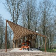 AA Design + Make students test the limits of timber in tensile woodland canopy