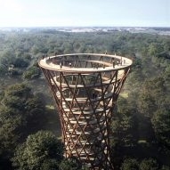 EFFEKT unveils spiralling tower and treetop walkway near Copenhagen