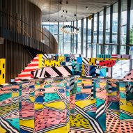 Camille Walala creates colourful labyrinth inside London's Now Gallery