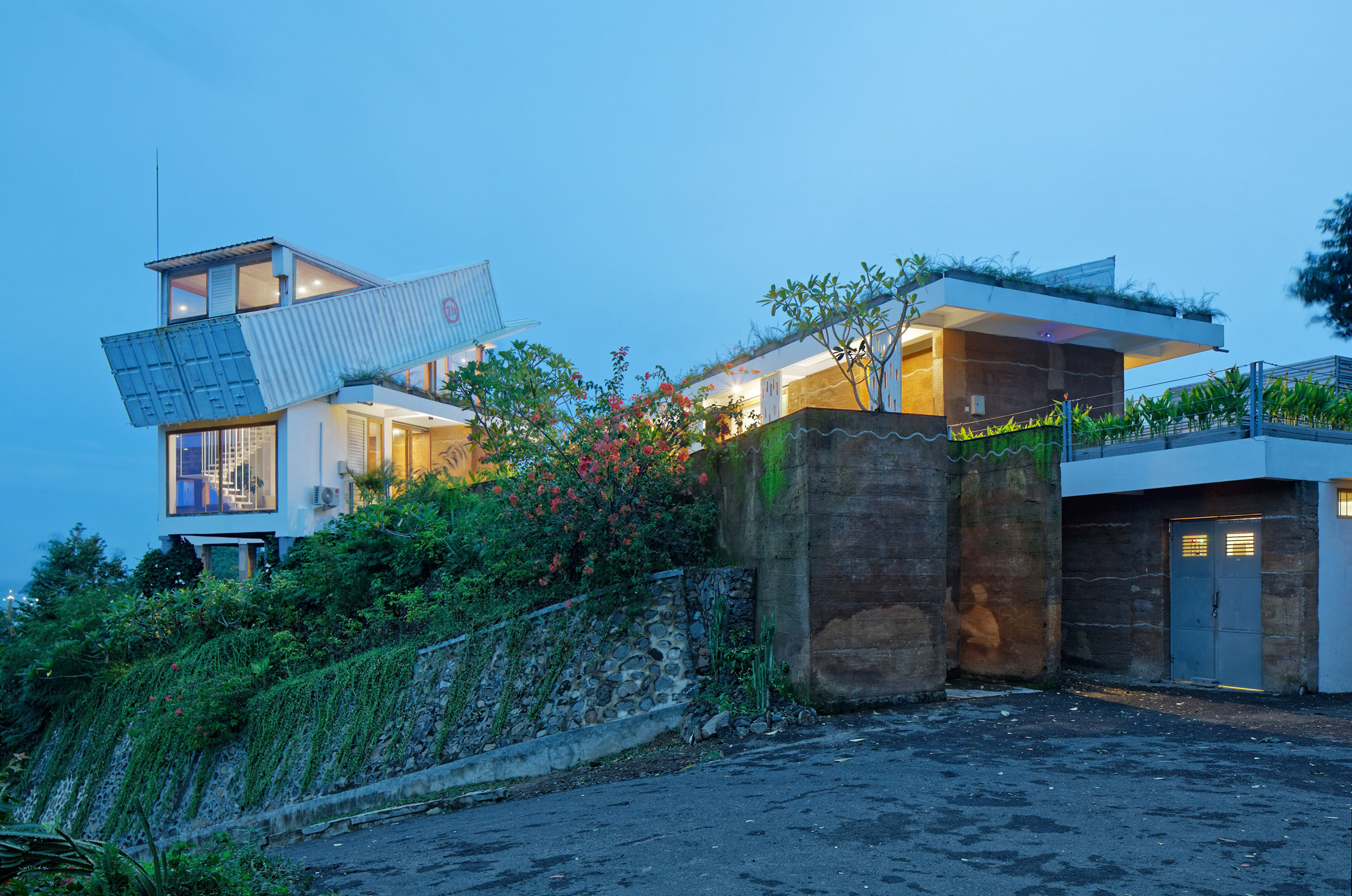 Budi Pradono tops hillside house in Lombok with tilted shipping container