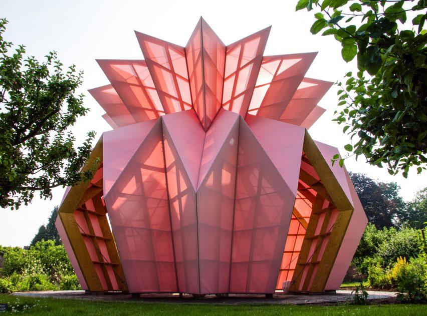Studio Morison construct origami-like pink pavilion at the National Trust estate, Berrington Hall