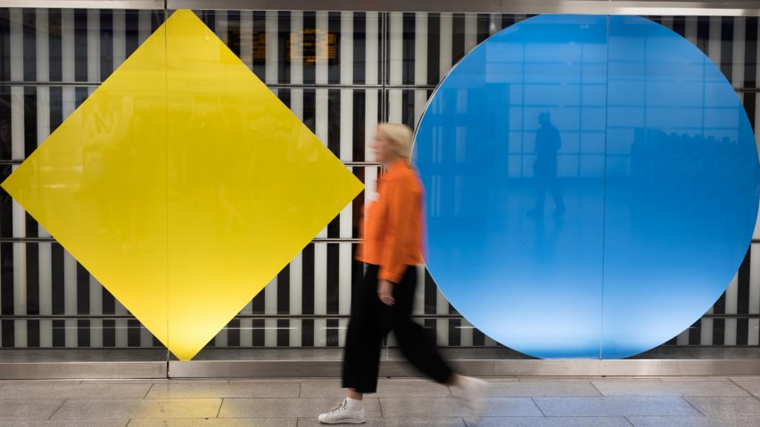 Daniel Buren installation at Tottenham Court Road tube station