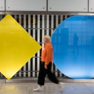 Daniel Buren adds colourful shapes to Tottenham Court Road tube station