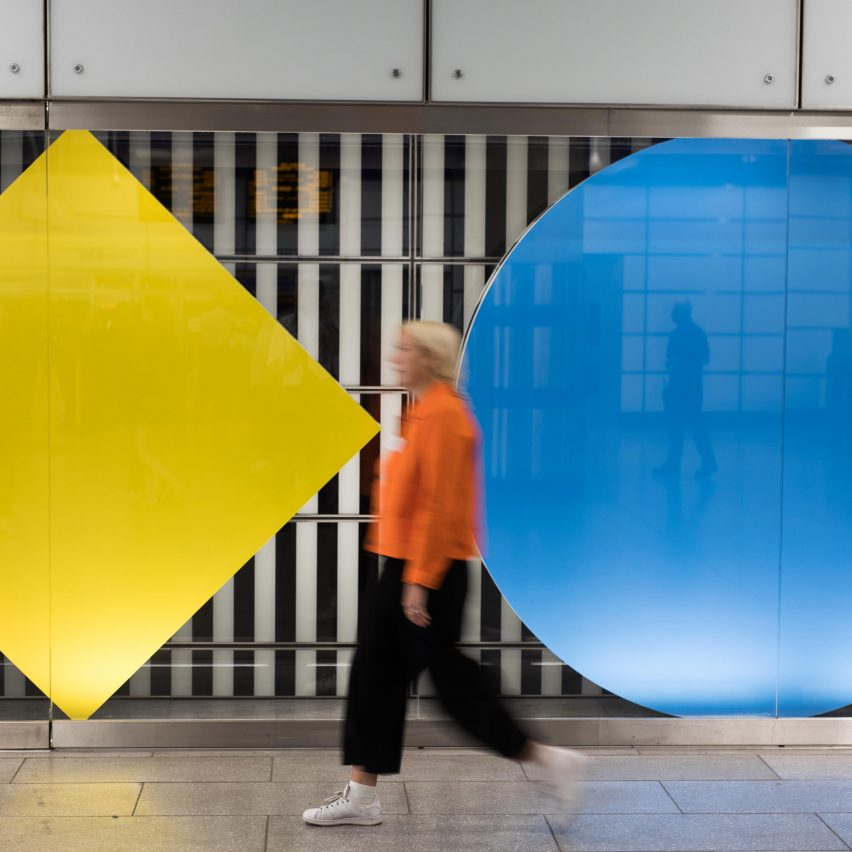 Daniel Buren installation at Tottenham Court Road tube station