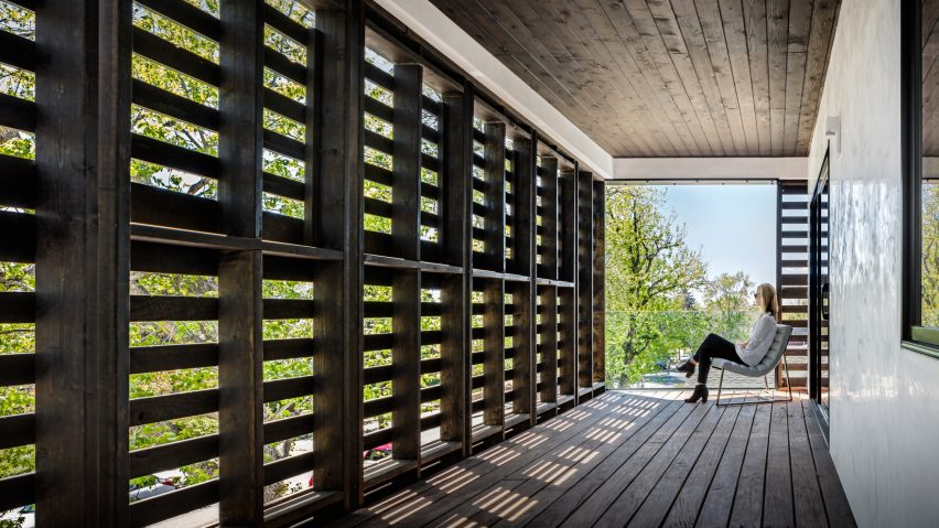Meridian 105u0027s Denver House Features Screens And Shutters Made Of Black Wooden  Pallets