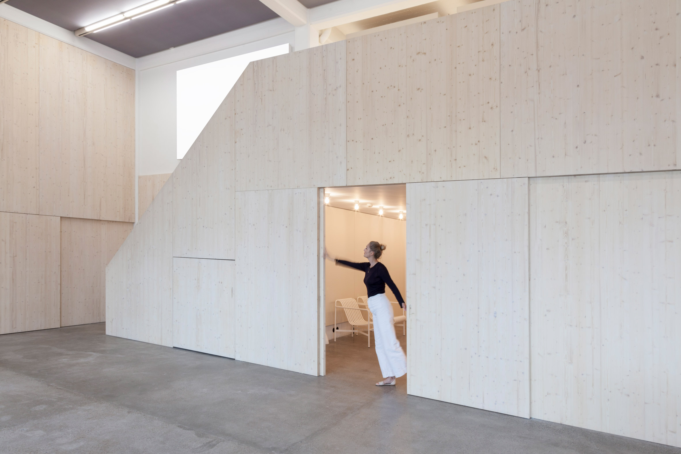 Caruso St John uses spruce lumber boards to create design studio for Kvadrat Soft Cells