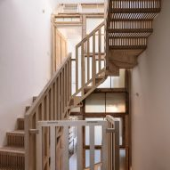 Tsuruta Architects designs staircase in London house from thousands of plywood pieces
