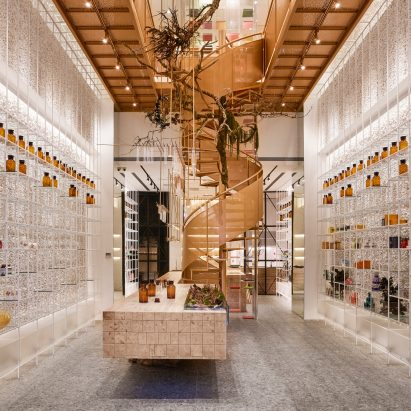 Waterfrom subverts clinical pharmacy stereotype with airy interior for taiwans molecure