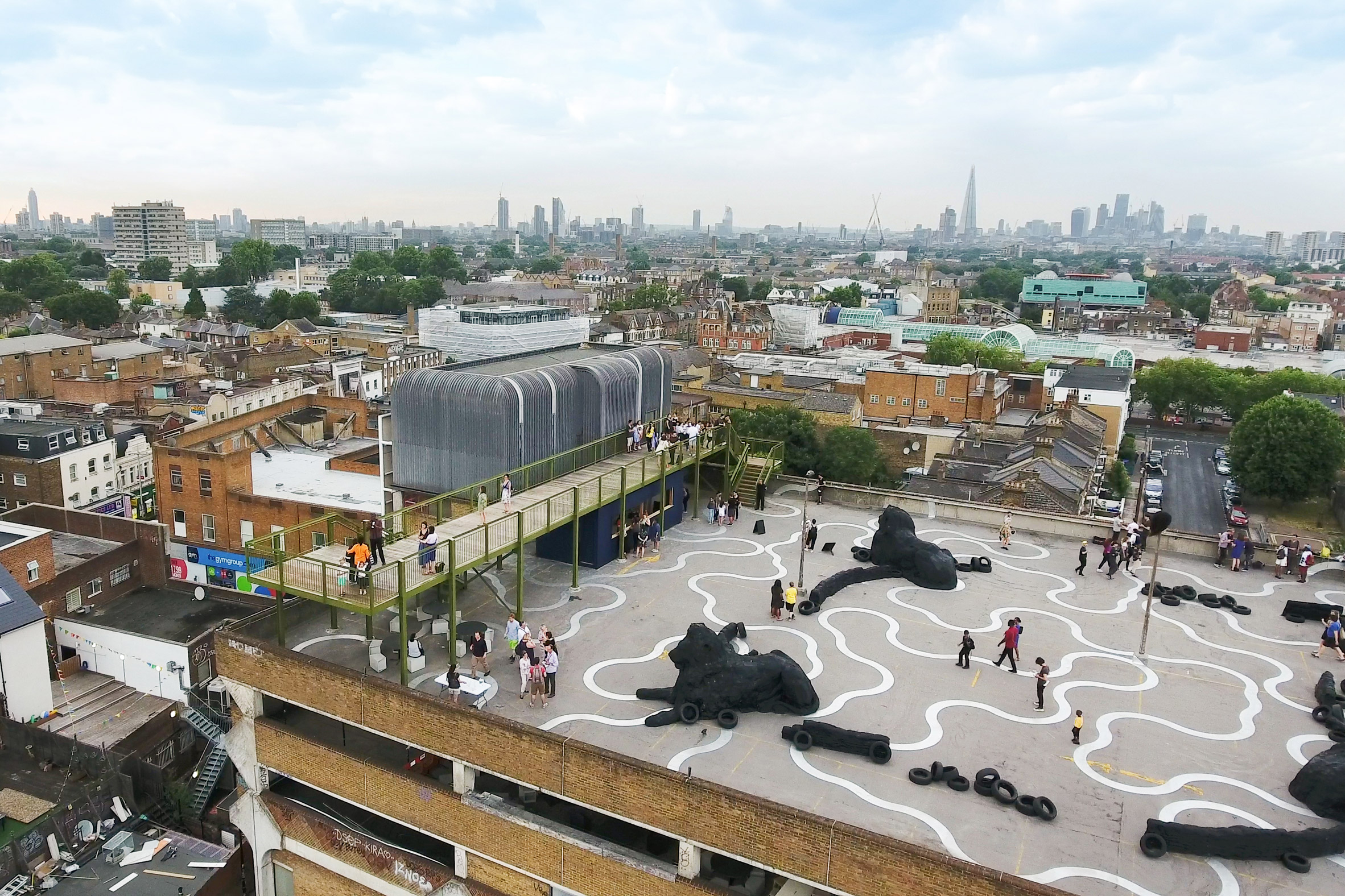 Cooke Fawcett's rooftop observatory gives views of London's skyline from above a Peckham car park