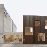 "Elding Oscarson creates ""slightly bent"" weathering steel extension to Lund's Skissernas Museum"