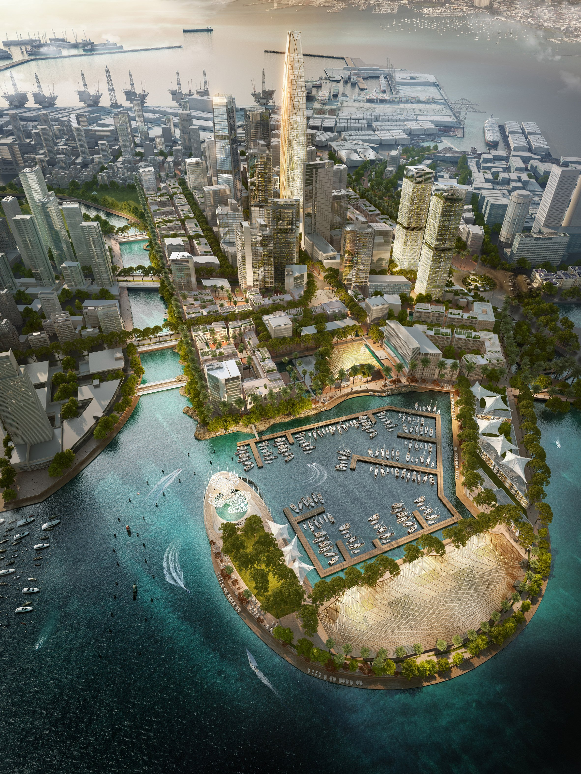 "SOM designs ""new skyline"" for port area of Sri Lanka's largest city"