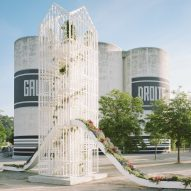 Laisné Roussel creates white mesh tower featuring two plant-covered slides