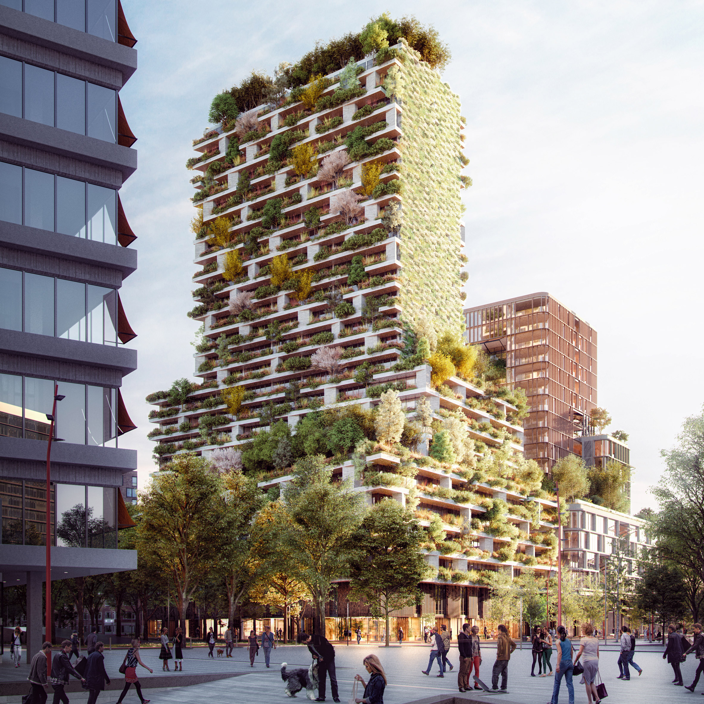 Stefano Boeri unveils latest tree-clad tower project for Utrecht