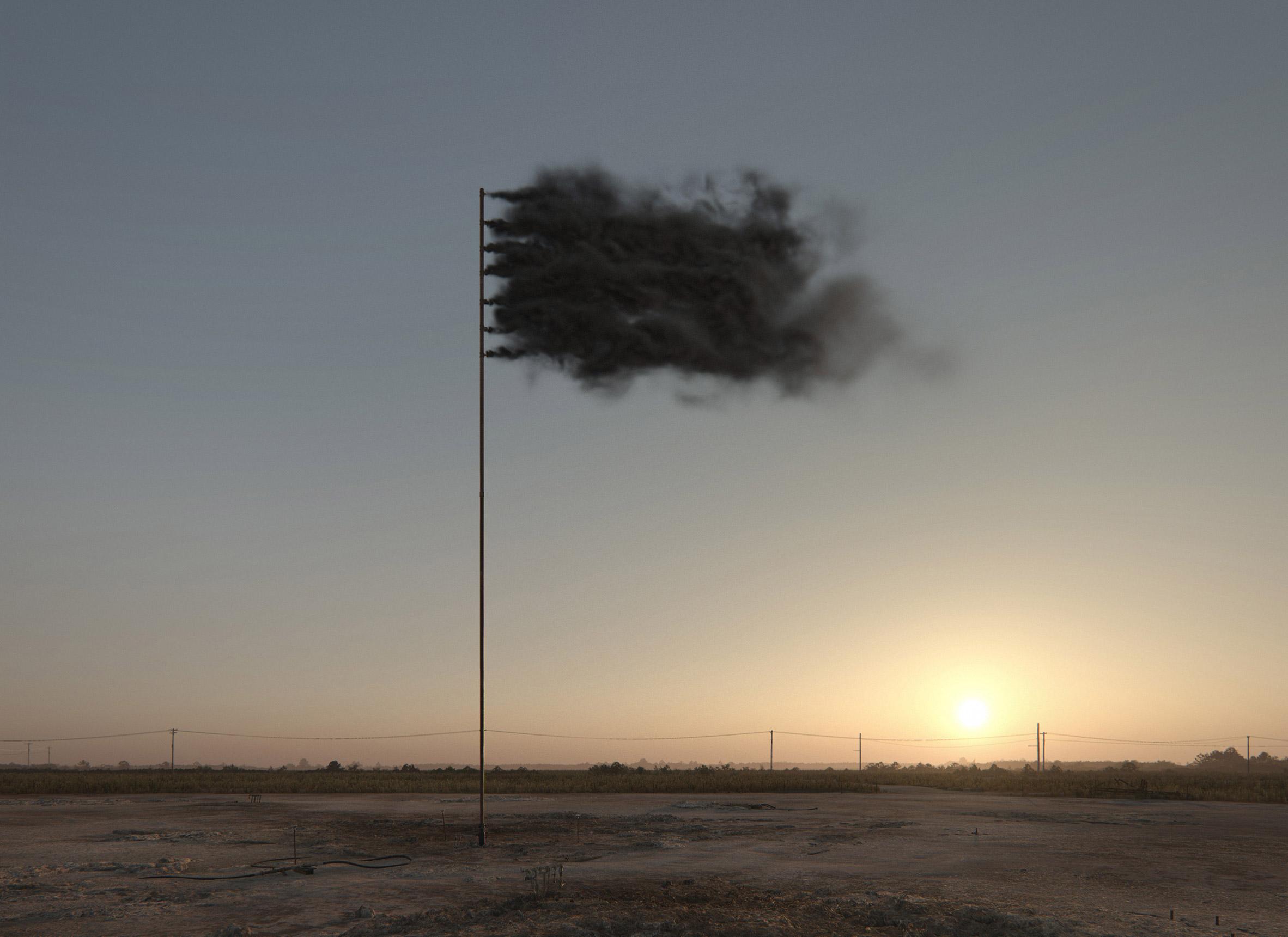 John Gerrard creates simulated flag of black smoke as a symbol of climate change
