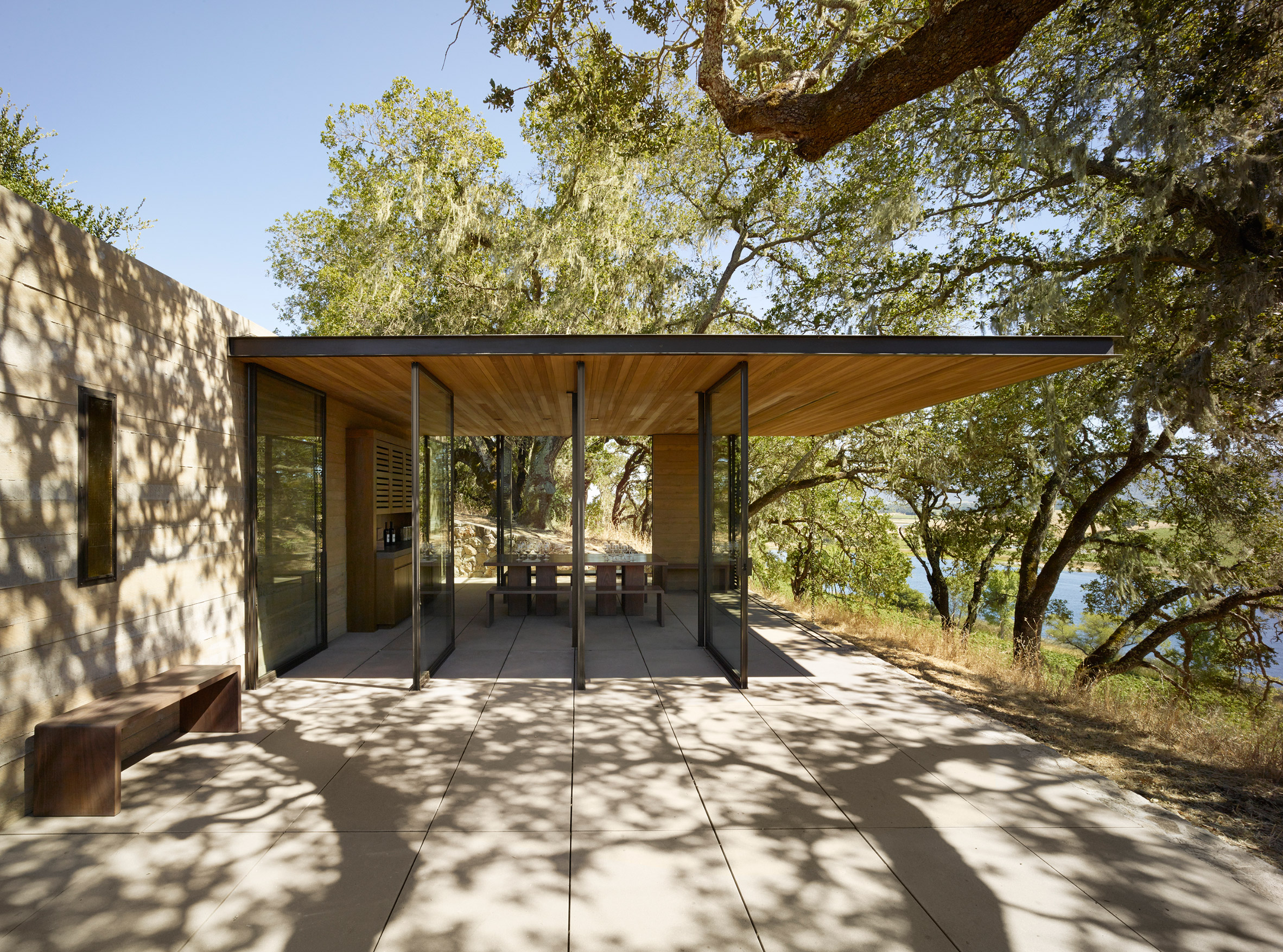 Wine-tasting pavilions by Walker Warner perch on ridge overlooking Napa Valley