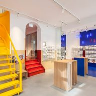 Ace & Tate's Copenhagen eyewear store features blocks of primary colours