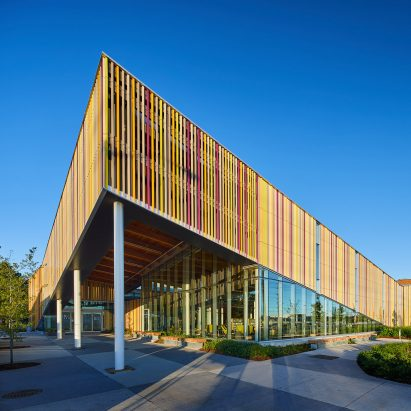 colourful strips surround torontos albion library by perkinswill