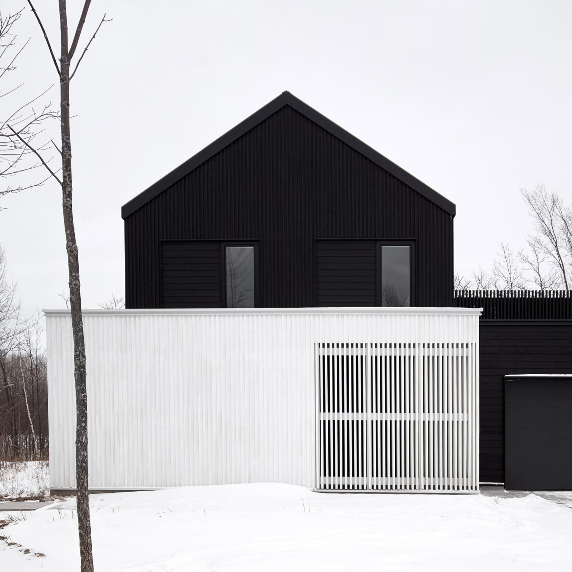 Uncategorized Black Facade houses with black exteriors dezeen monochrome canadian ski lodge by atelier kastelic buffey echoes traditional farmhouses