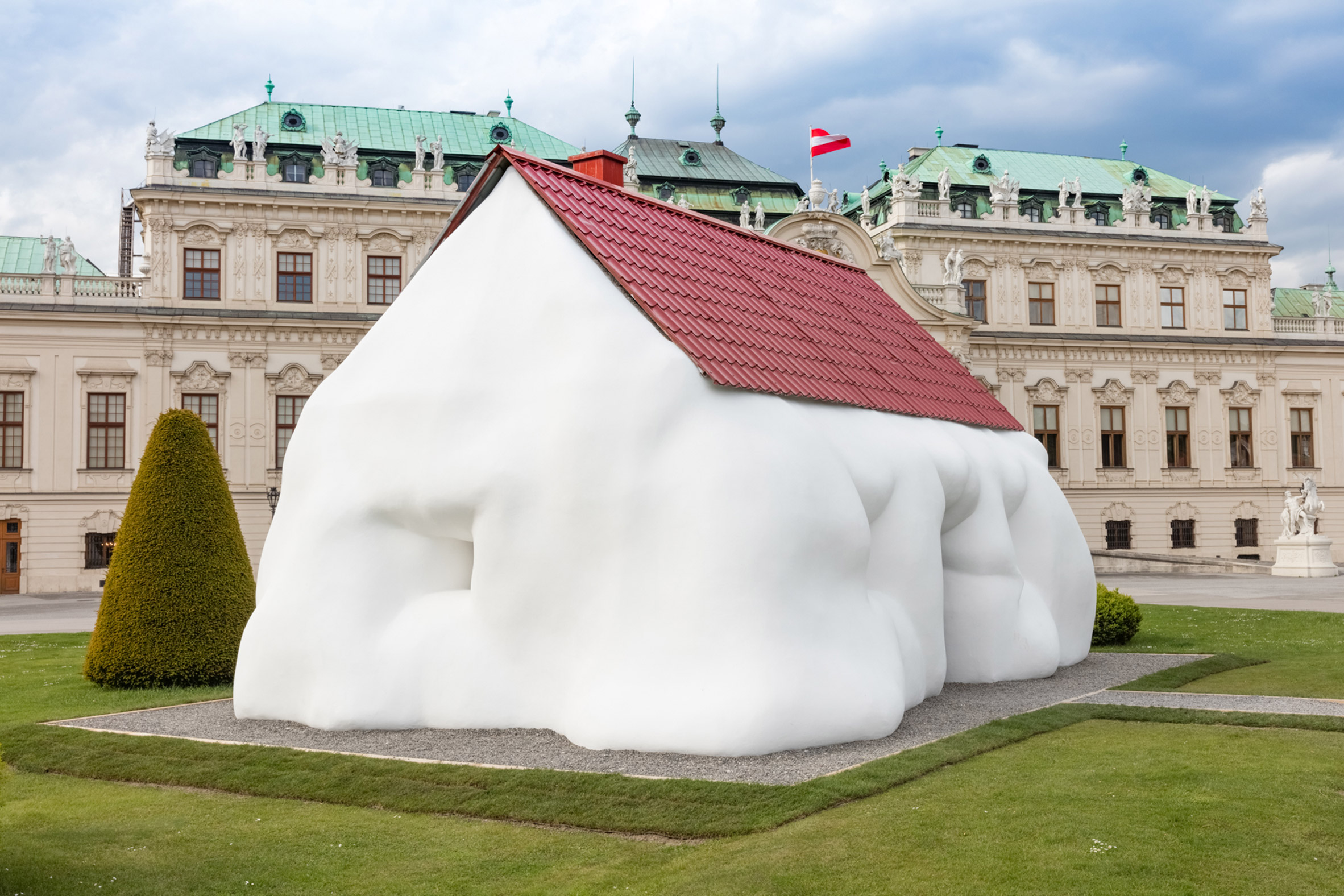 Erwin Wurm's Fat House installed outside baroque palace in Vienna