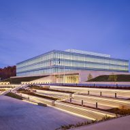 Bands of glass wrap FBI technology building in West Virginia by SOM