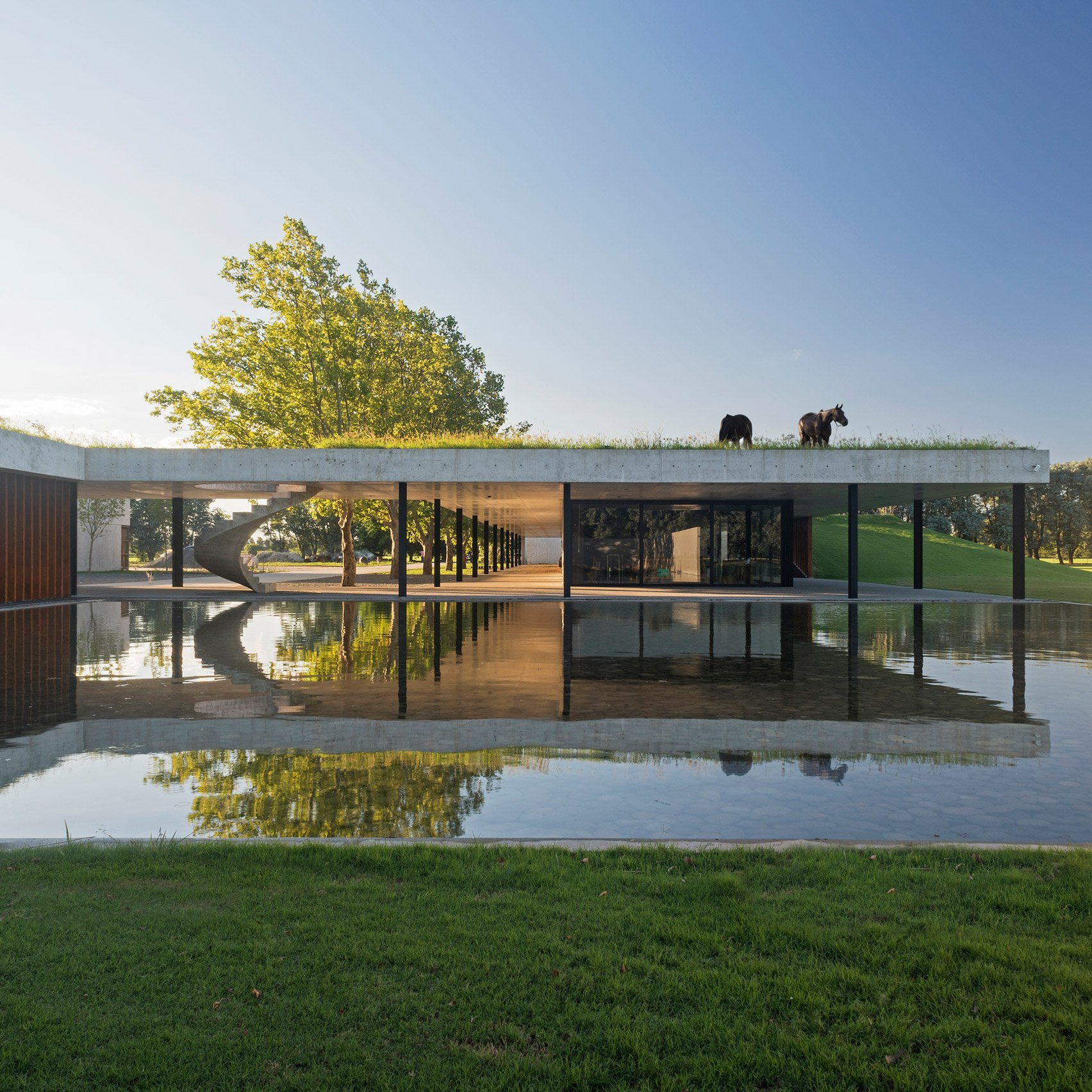 Polo Stables By Estudio Ramos Features Grassy Roof For Horses To Graze
