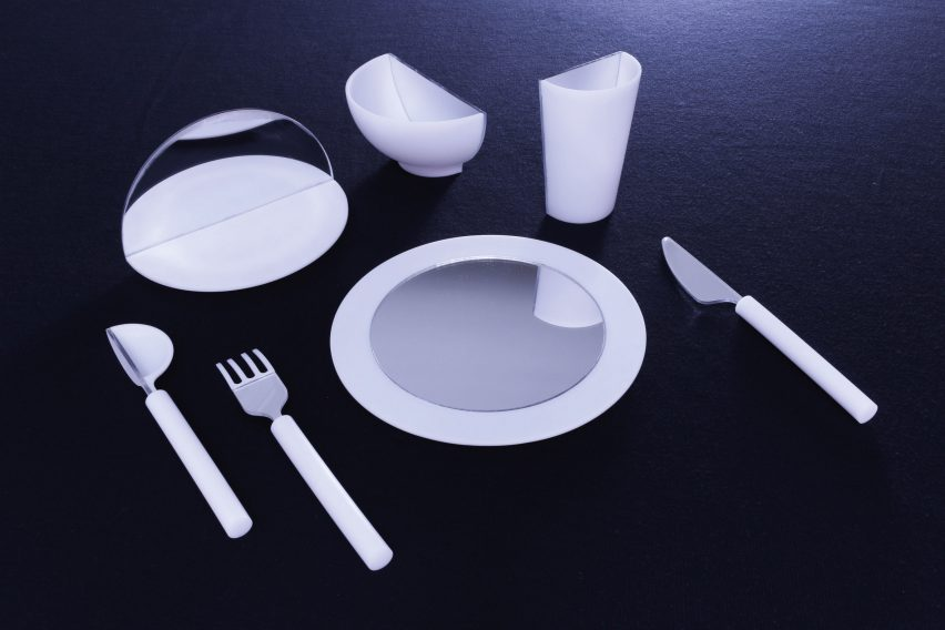 Saki Maruyama and Daniel Coppe design mirrored tableware to lessen food consumption.   & Mirrored tableware tricks diners into thinking theyu0027re full