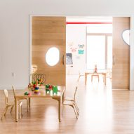 Maple Street School in Brooklyn features warm wood interiors