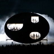 Earthworm-inspired pavilion stages concerts and light shows in Latvia's floodplains
