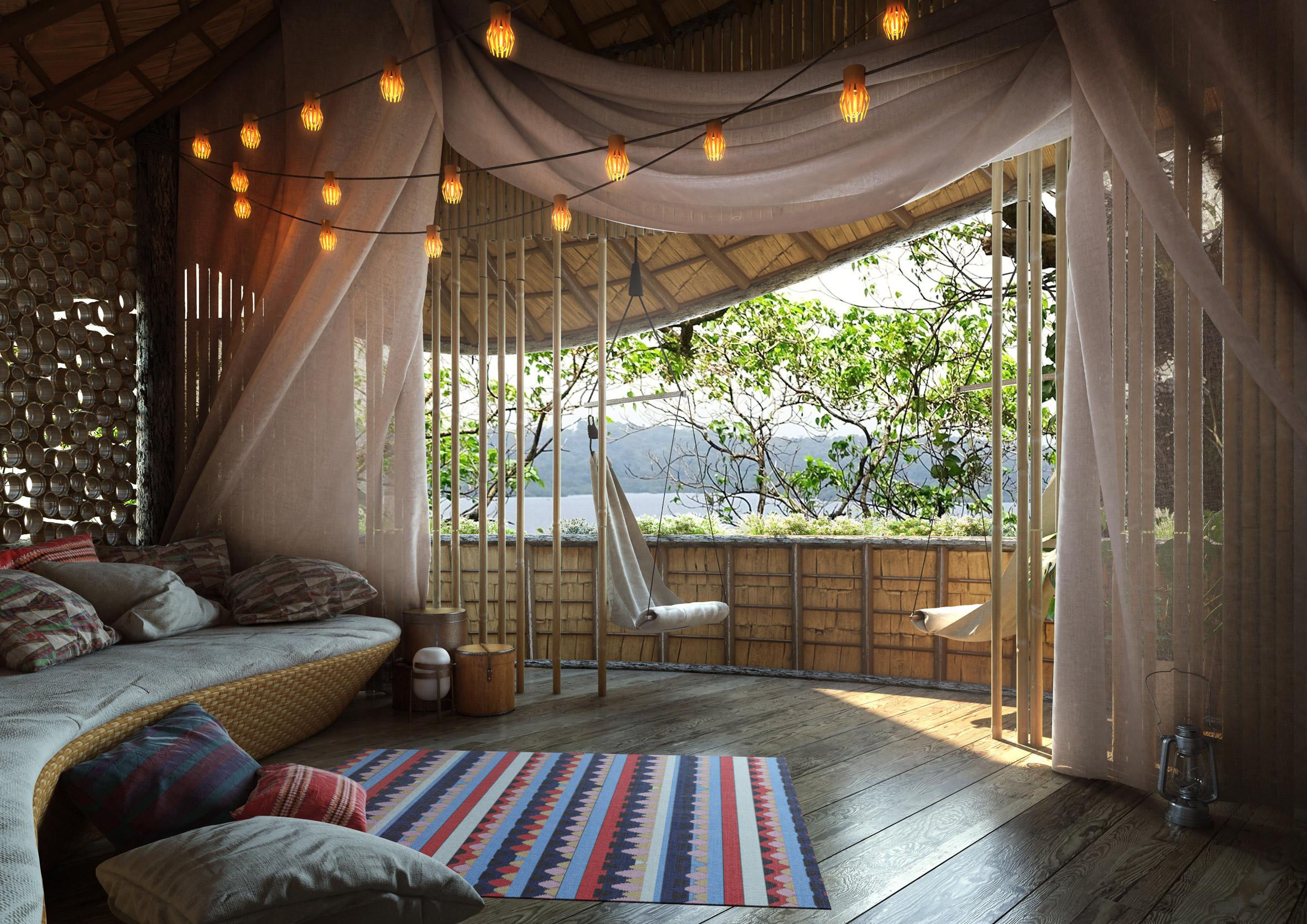 Baca Architects bases treehouse hotel for Panama eco resort on a cocoa pod
