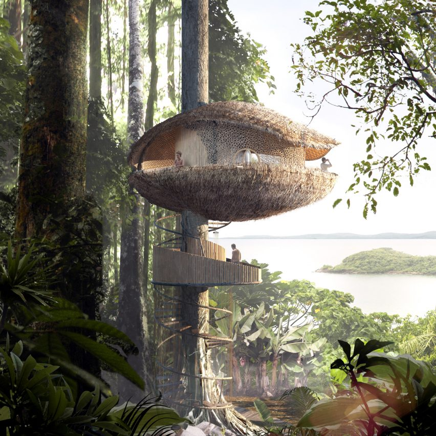 Baca architects bases treehouse hotel for panama eco for Three tree treehouse plans