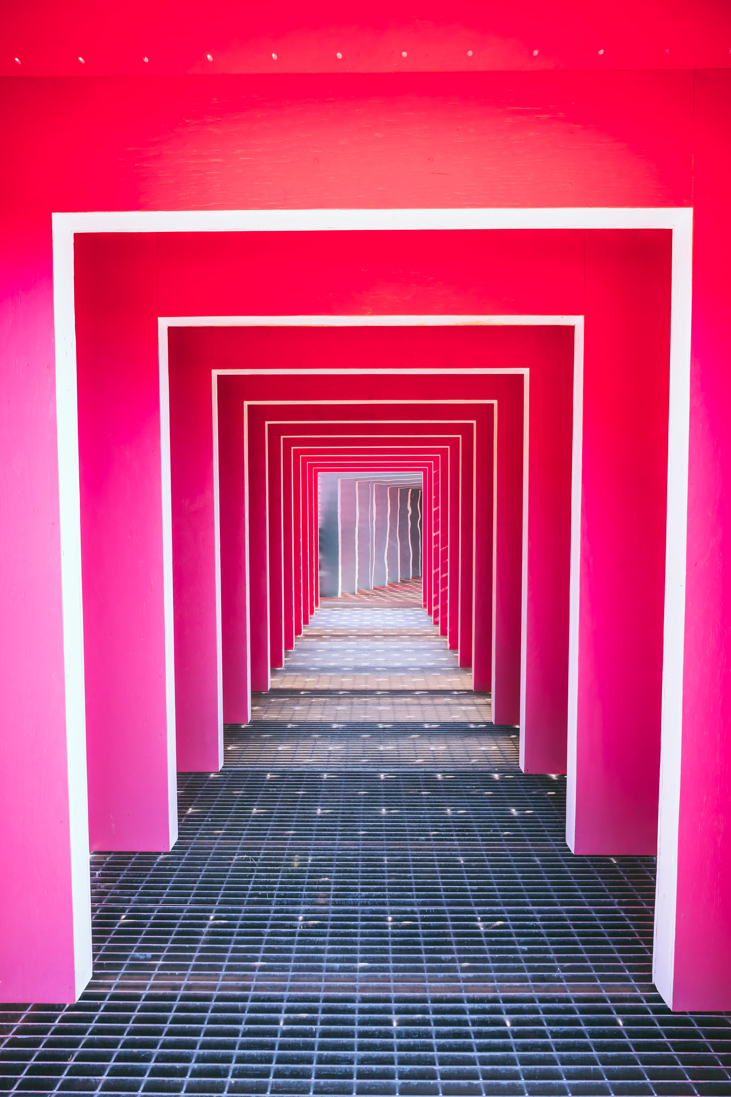 Instagram-friendly pink tunnel among Passages Insolites installations in Quebec City