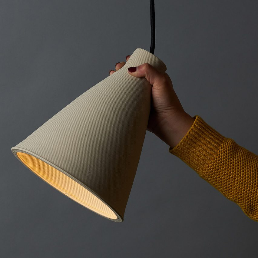 Australian designer Tom Fereday and artist Susan Chen make lamps using a ceramic printer