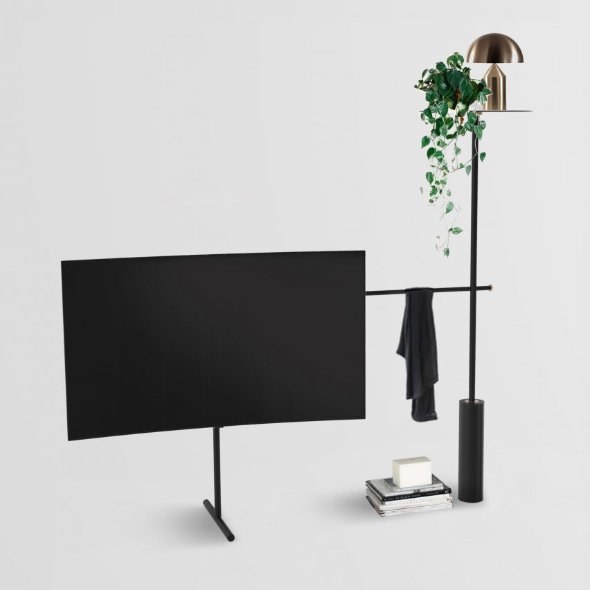 plants pulleys and a surfboard among shortlist for dezeen and samsung 39 s tv stand design contest. Black Bedroom Furniture Sets. Home Design Ideas