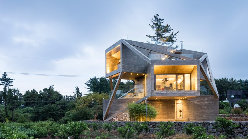 Moon Hoon stacks concrete boxes for house on Jeju island