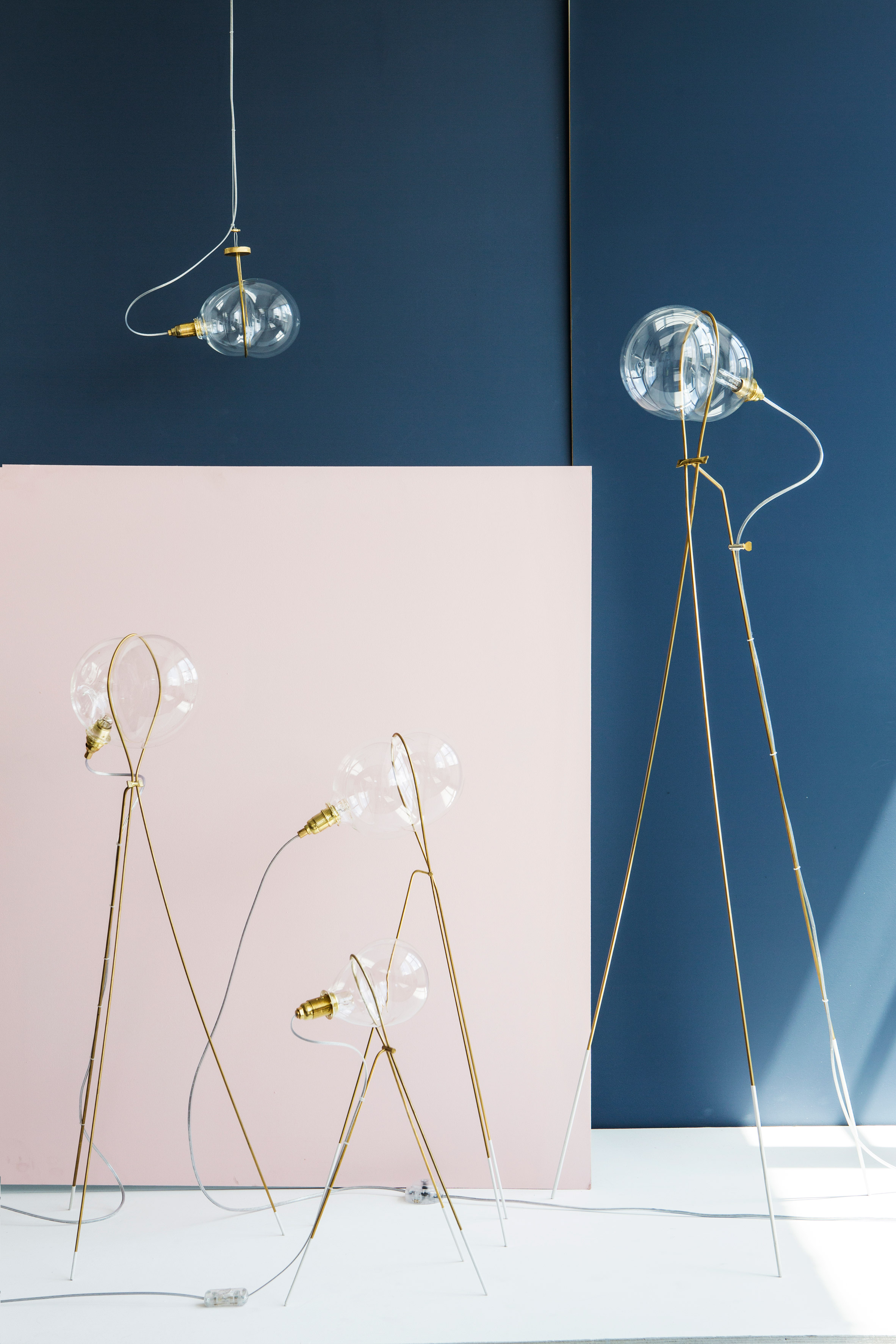 Ohad Benit shapes blown-glass Stress lights like soap bubbles