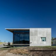 Concrete dermatology office by Matt Fajkus overlooks Texas Hill Country