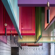 Colourful screens based on Japanese kites designed for Tel Aviv bistro
